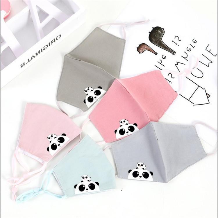 Crianças de três camadas desenhos animados impresso de algodão ao ar livre protetor solar respirável poeira ajustável máscara