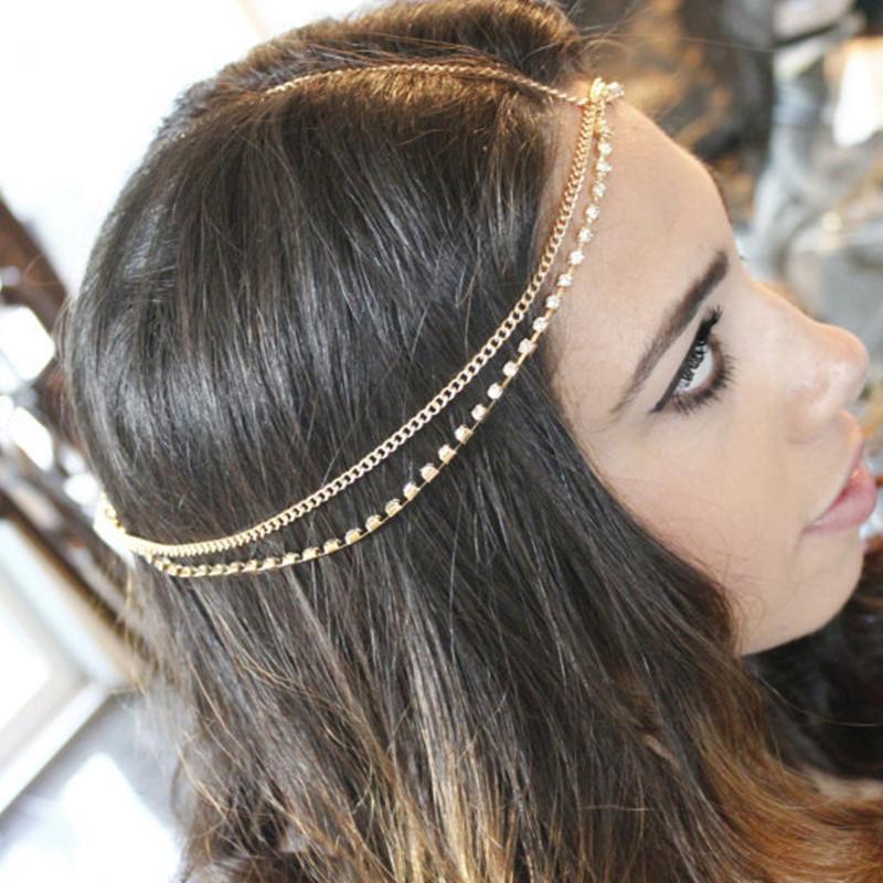 Haarklammern Barrettes Böhmischen Kristall Strass Braut Stirnband Ketten für Frauen Hochzeit Stirn Zubehör Kopfdekoration