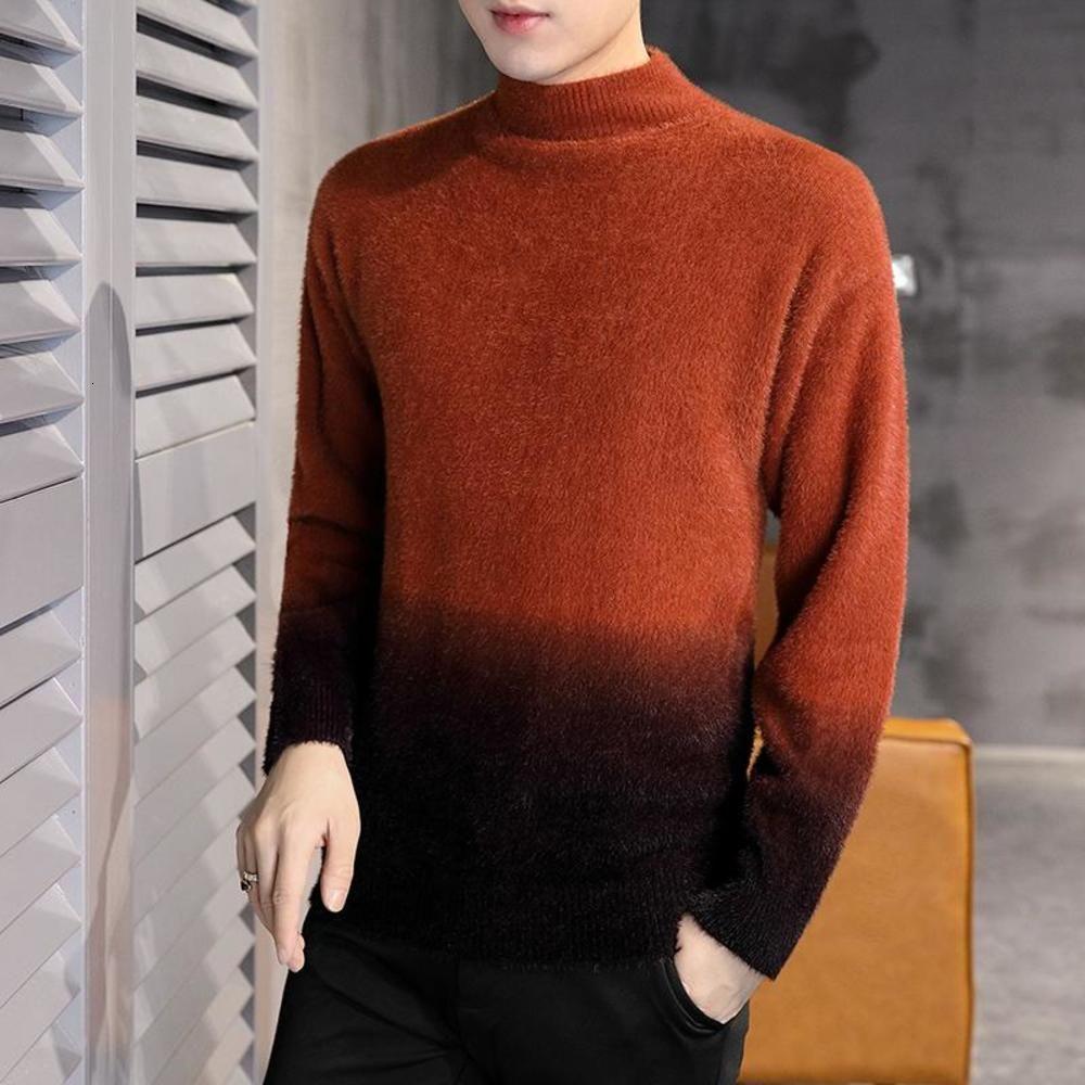 Homens Moda Inverno Grosso Turtleneck Quente Suéteres Patchwork Pullover Sweater Slim Fit Knitwear Masculino Vestuário Camisola