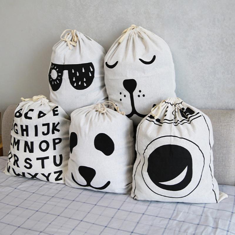 Bolsas de lavandería Patrón de rayas de animales Patrón de algodón Bolsa de juguete Casa de lona de lona con cordón de ropa sucia