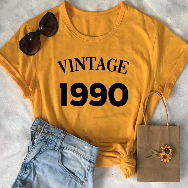 خمر 1990 المرأة قمم عيد ميلاد حزب الزى الشارع الشهير 30th تي شيرت زائد حجم القطن سيدة الملابس الأزياء س الرقبة قصيرة