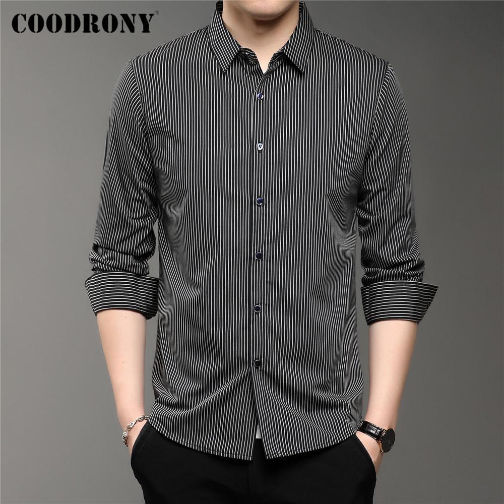Coodrony Marka İlkbahar Sonbahar Varış Klasik Dikey Çizgili Uzun Kollu Slim Fit Iş Rahat Gömlek Erkekler Giyim C6141 210522