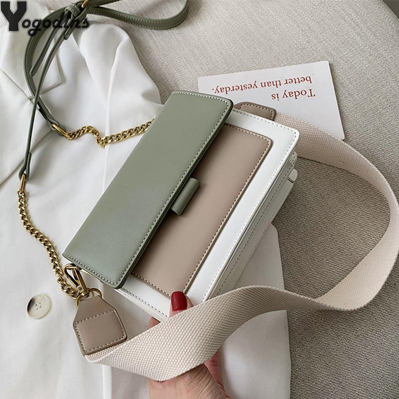 2021 Mujeres Contraste Color Cuero Hot Bags Simple Travel 2021 Bolsa de Crossbody Moda para Bolsa de Hombro Folleto 0928 Mini Messenger Handbag l XBix