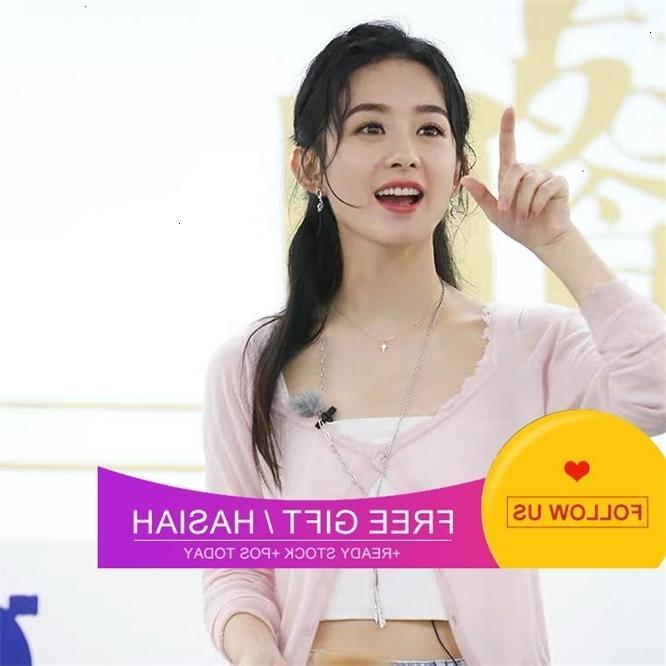 Zhao liying com pingente de personalidade simples colar longo suéter ot fivela colher colher cadeia de clavícula feminina