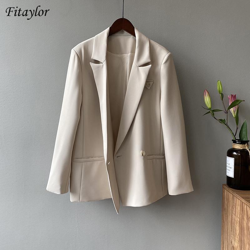 Fitaylor Bahar Varış Bayanlar Rahat Sadelik Katı Blazer Kadınlar Vintage Kruvaze Takım Elbise Gevşek Moda Ceket Kadın Takım Elbise Blazer