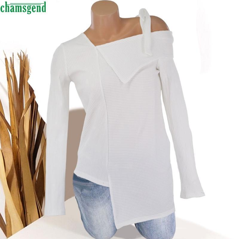 Chamsgend Женская мода мода кошу воротник вязаная блузка сплошные асимметричные рубашки с длинными рукавами Случайные пуловер Slim Top Blusa