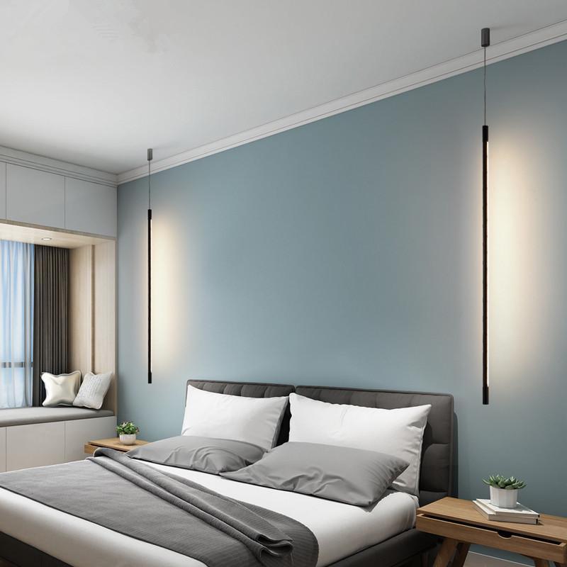 مصابيح قلادة الأسود الحديثة أدى أضواء لغرفة النوم منضدة غرفة الطعام بار السرير البسيط شنقا مصباح AC110-220V
