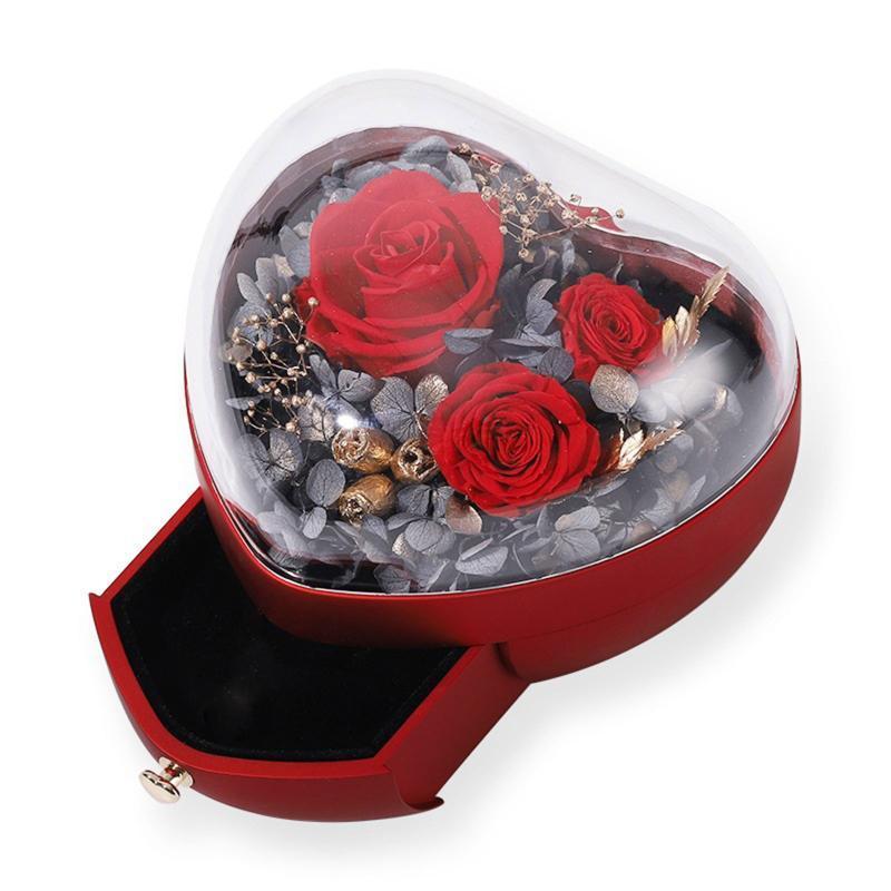 1 ADET Kalp Şekli Güzel Sonsuza Gül Gül Sevgililer Günü Mücevher Kutusu Alyans Küpe Kolye Ekran Hediye Tutucu Wrap