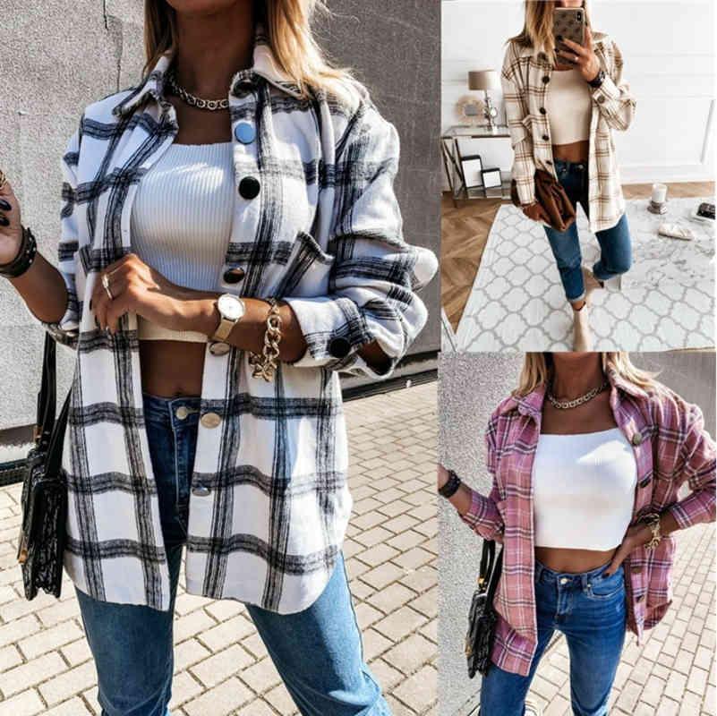 Kadınlar Uzun Kollu Ekose Ceket Sonbahar Kış Boy Ceket 2021 Moda Gevşek Dış Giyim Vintage Zarif Üst Streetwear Ropa Mujer