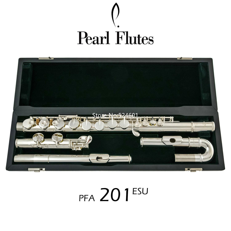 جودة عالية اللؤلؤ ألتو الفلوت- PFA-201ESU منحني المنحدرات تقسيم 16 مفاتيح مغلقة ثقب غزو النيكل الفضة مع القضية