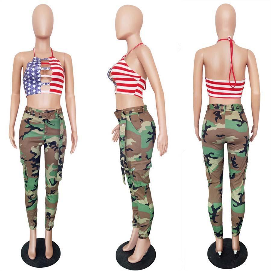 Femme Militär Pantalon Camo Hosen Camouflage lange Hosen Damen Harem beiläufige Art und Weise Hosen Damen Cargo-Jogginghose