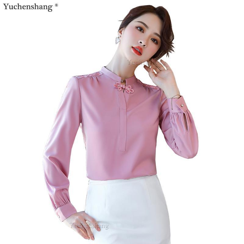 Высокое качество прибытия Элегантная розовая зеленая белая блузка женщины женские девушки с длинным рукавом рубашка стенд воротник S-5XL случайные топы женские блузки