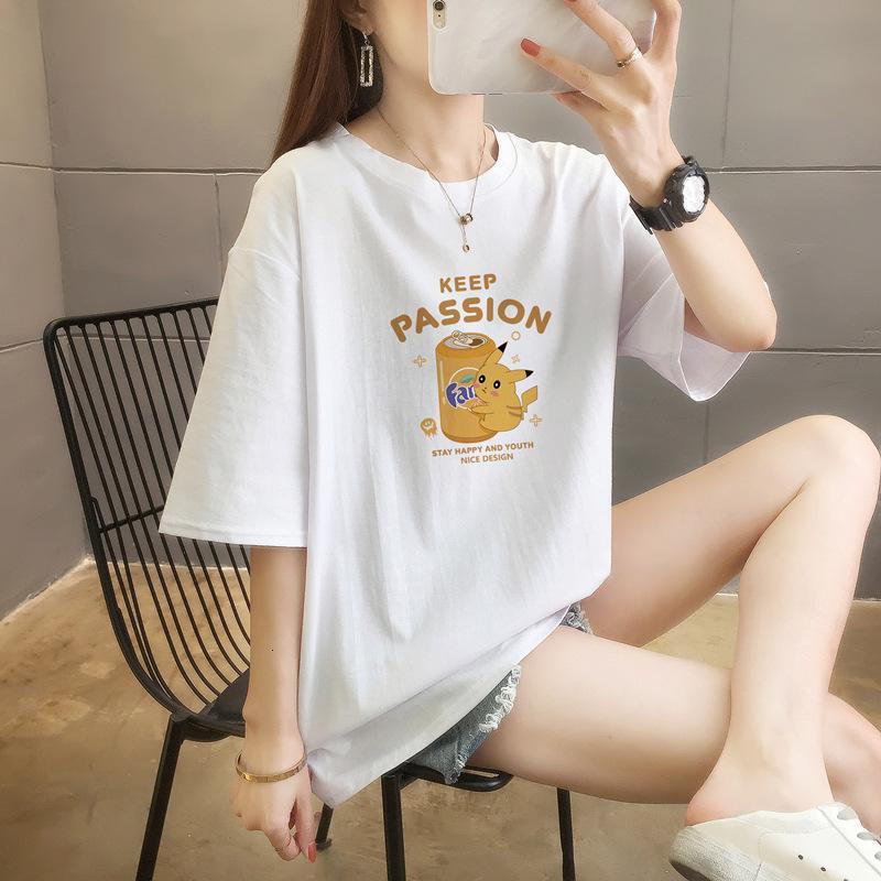 Nouveau T-shirt à manches courtes de coton 2021 en coton d'été Femme coréenne en vrac de grandes hommes et femmes de la maillot de fond