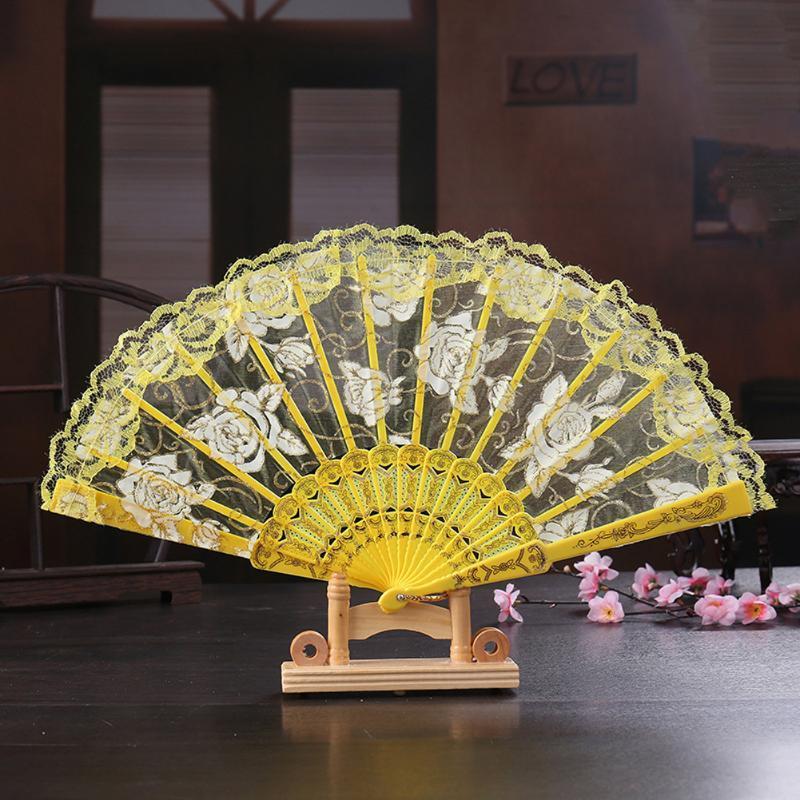Otra decoración para el hogar RFID Bloqueo Festival Danza clásica habitación decoración plegable ventilador de mano duradera estilo chino oro estampado rosa encaje sou