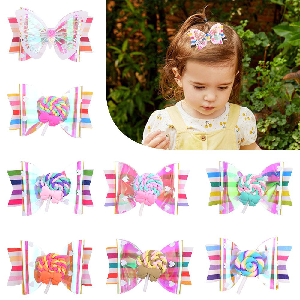 Baby Girls Barrettes Lollipop Butterfly shape Clips Hairpins Infant Leather Hairgrips Children Wrapped Safety Hair Clip Kids Hair Accessories KFJ359