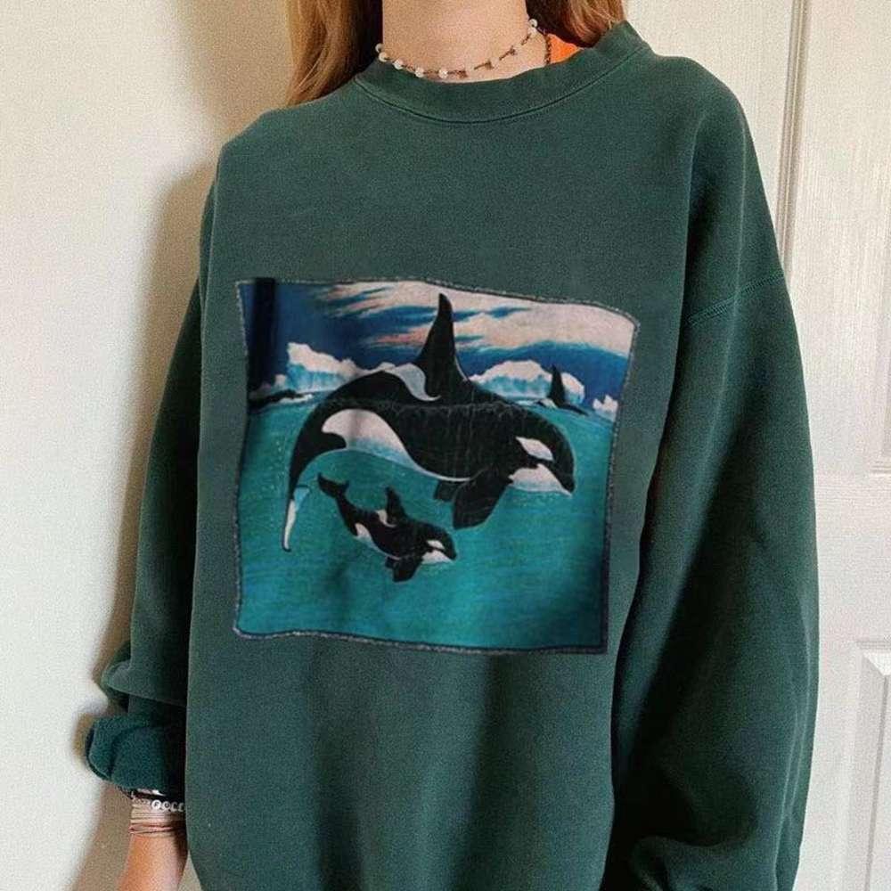 Толстовки толстовки осень 2020 женский китовый сериал свободный плюшевый свитер