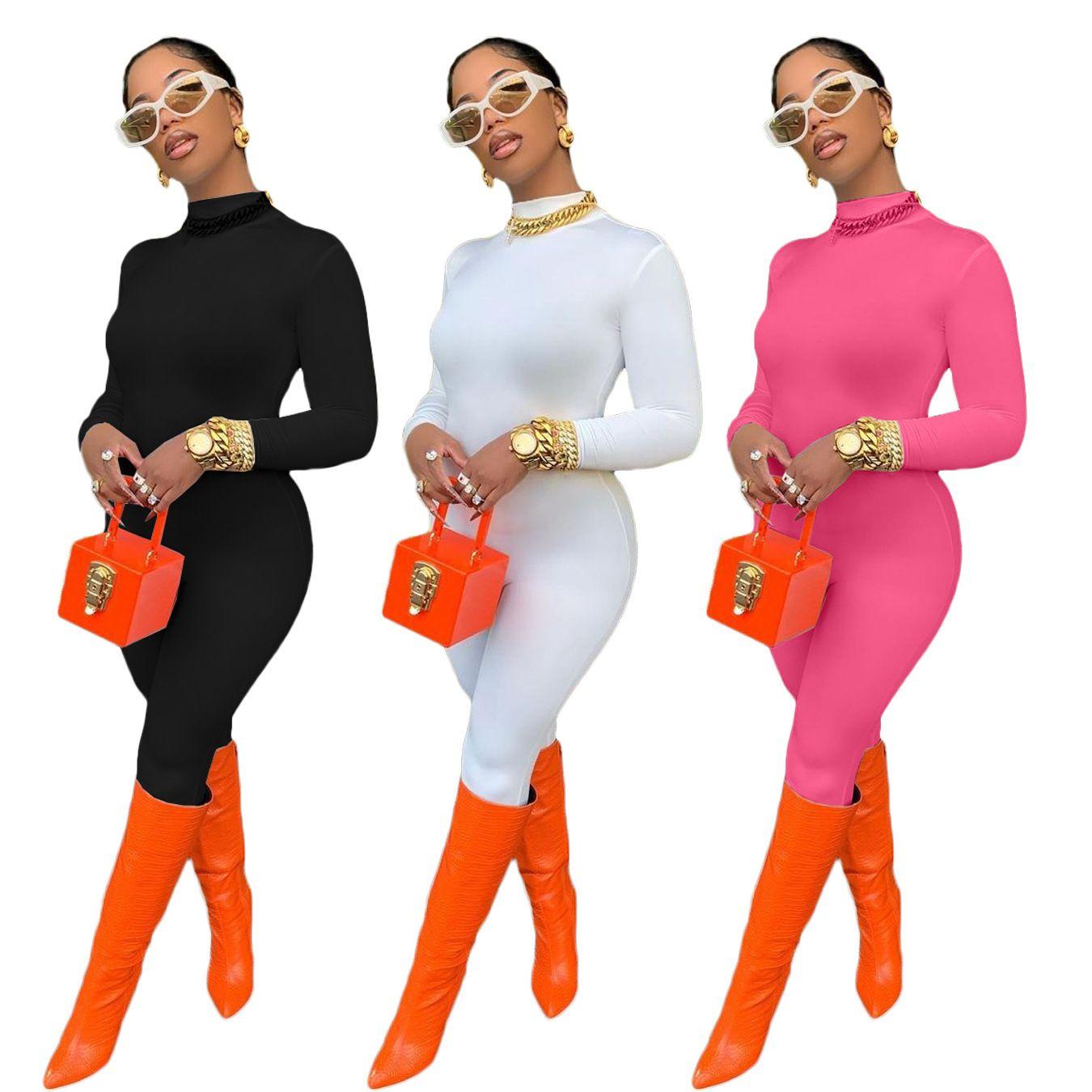 2021 Frühling Frauen Jumpsuit Reißverschluss Skinny Bodycon Langarm Strampler Womens Overall Outfit Overalls für Frauen 210506