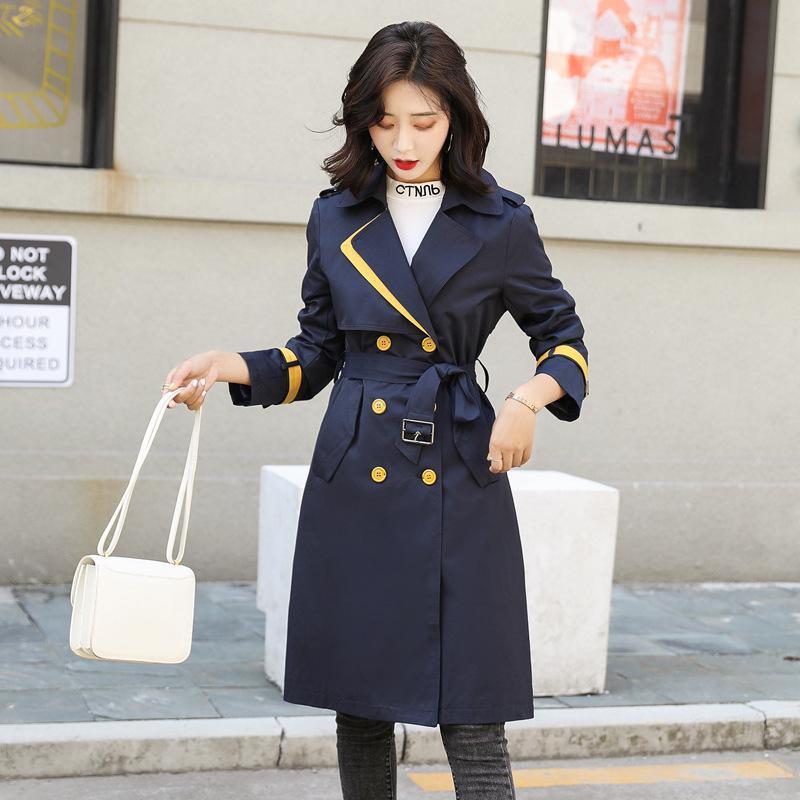 Women's Trench Coats Windbreaker 20211Spring Autumn Korean Style Slim Mid-Length Coat Solid Color Belt Double Row For Women
