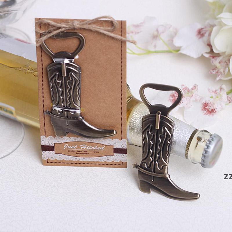 Créatif Cowboy Boot Bottch Ouvre-bouteille Vintage Tarksigne en métal pour Anniversaire Western Bridan Bridal Faveurs et cadeaux de fête HWF9040