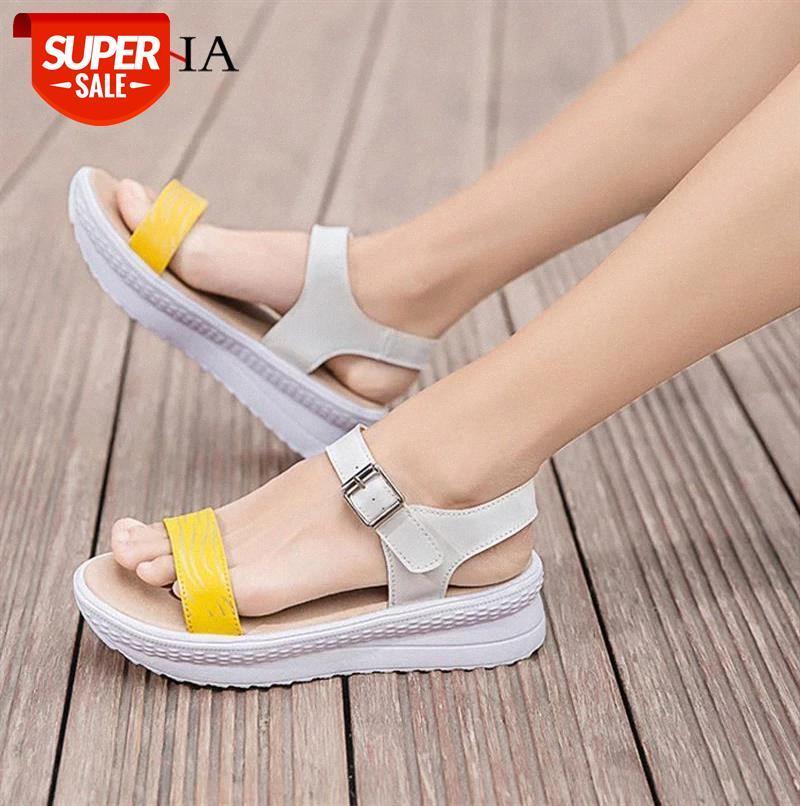 Altura Aumento das Mulheres Sandálias Sapatos Pu Casual Sandálias de Verão Mulheres Sapato Fivela Plataforma Plataforma Sapatos Mulheres Moda Sandália # AE27