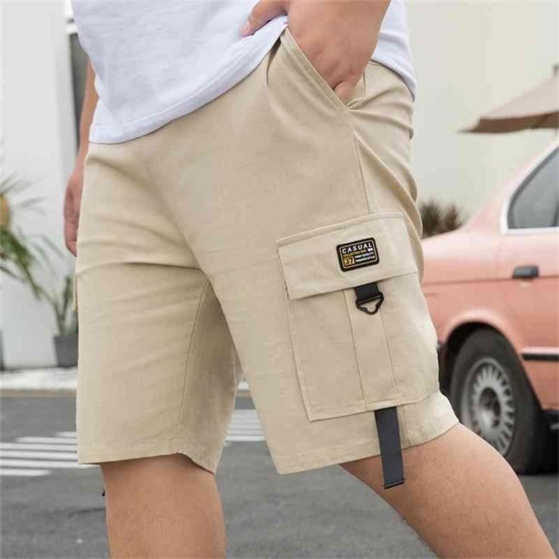 Kore tarzı 28-50 inç erkek şort kargo yaz rahat daha büyük cep klasik 95% pamuk marka erkek kısa pantolon Trooloss 210324