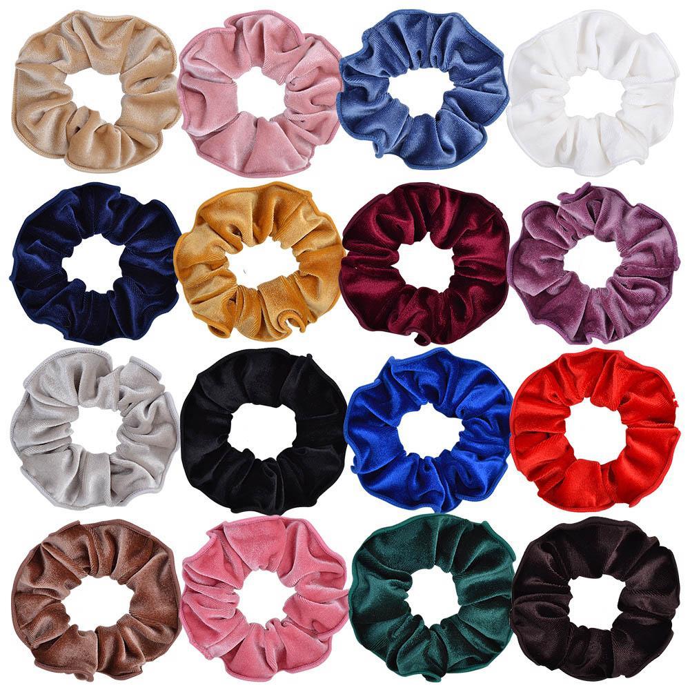 16 Colors Velvet Scrunchie Elastic Hair Rubber Bands For Women Girls Tie Hair Ring Rope Ponytail Holder Accessories