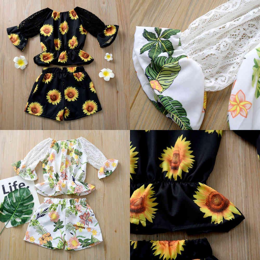 Kinder Kleidung Sets Mädchen Sonnenblume Outfits Kinder Spitze Flare Sleeve Tops + Shorts / Set Sommer Mode Baby Kleidung