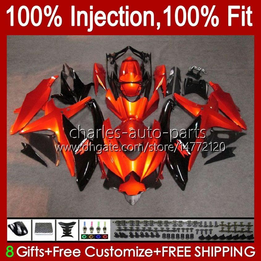 Injectievorm voor Suzuki GSXR600 K8 GSX-R750 GSXR-600 GSXR-750 GSXR750 Carrosserie 9HC.8 Orange Black NEWGSX-R600 2008 2009 2010 GSXR 600 750 CC 600CC 750CC 08 09 10 Kuip