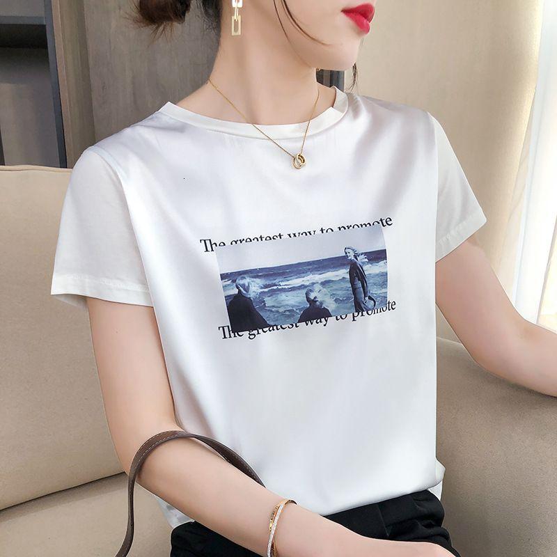 2021 Tendencia de verano T-shirt de manga corta grande Impresión de mujeres Seda de seda de seda de seda de la media manga de la mitad Top de la moda