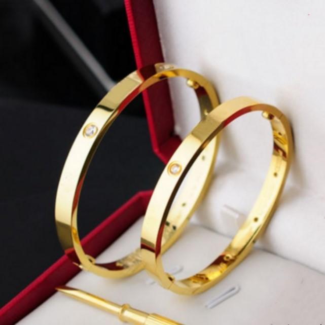 Homens mulheres aço inoxidável amor pulseira de ouro pulseira de ouro com chave de fenda e conjunto de caixa