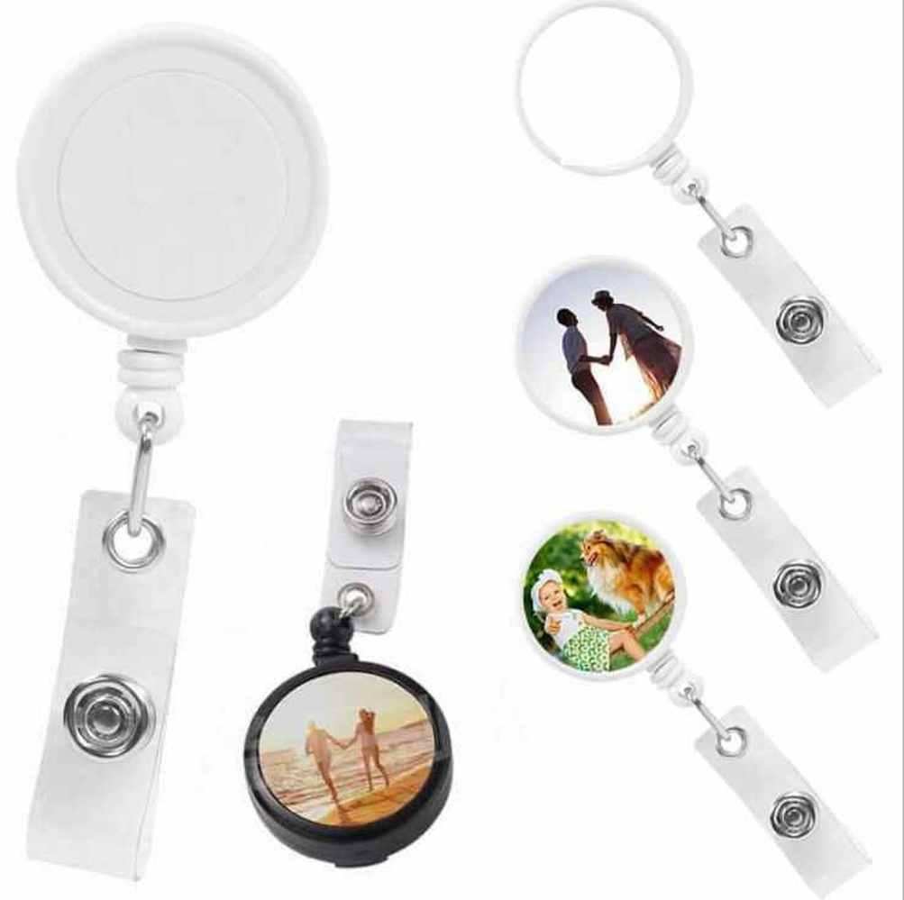 US stock Office & School Supplies Sublimation DIY ID Holder Name Tag Card Key Badge Reels Round Solid Plastic Clip-On Retractable Pull Reel