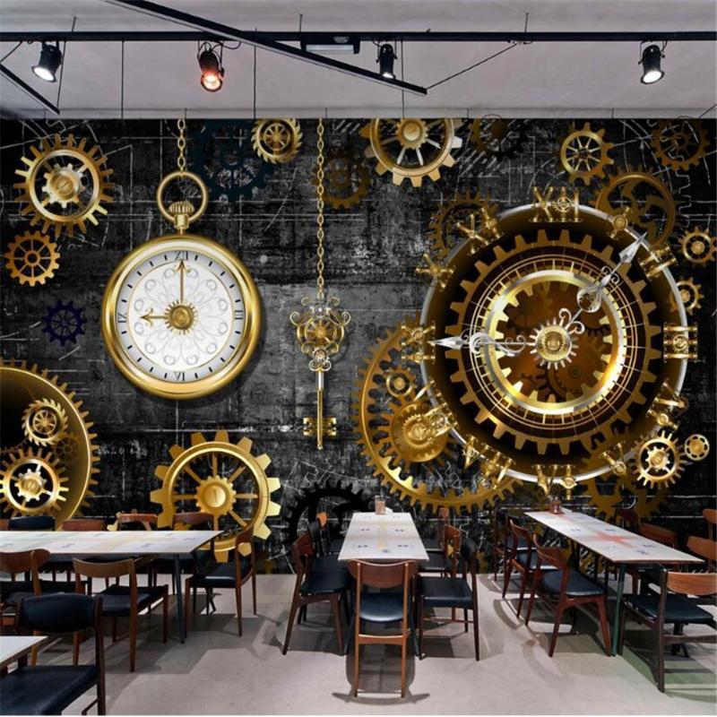 Milofi özel büyük duvar kağıdı duvar 3d stereo Avrupa ve Amerikan endüstriyel rüzgar altın dişli saat arka plan duvar duvar kağıtları