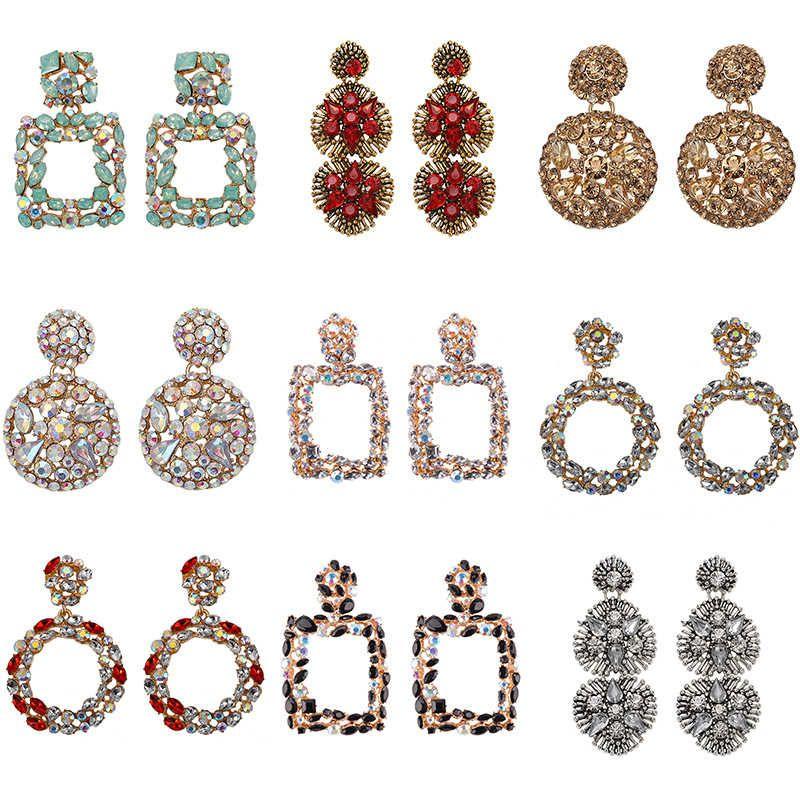 El mejor pendiente geométrico Lady Fashion ZA Resina Drop Pendiente para mujer Boda Joyería de Lujo Boho Elegante Brillante Colgela Declaración Pendientes