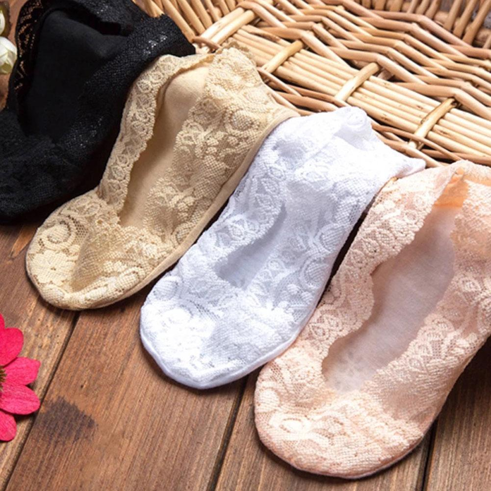 Lace Boat Socks Invisible Socks Women's Cotton Summer Low Shallow Cotton Slippers Socks Thin Non-slip Antiskid Silicone Cut X9S2