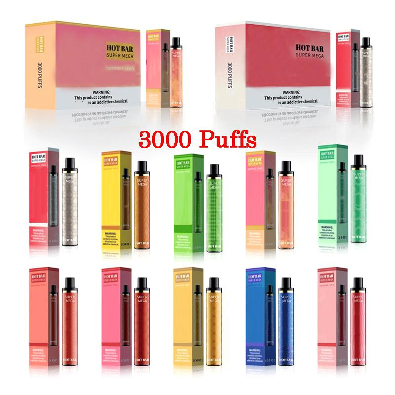 Hotbar Super Mega 3000 Puffs Wegwerp Pen Vape Elektronische Sigaretten Beveiligingscode 10 Kleuren met 1300mAh Batterij 9 ml Pod Dispathables Device Kit Dazzle