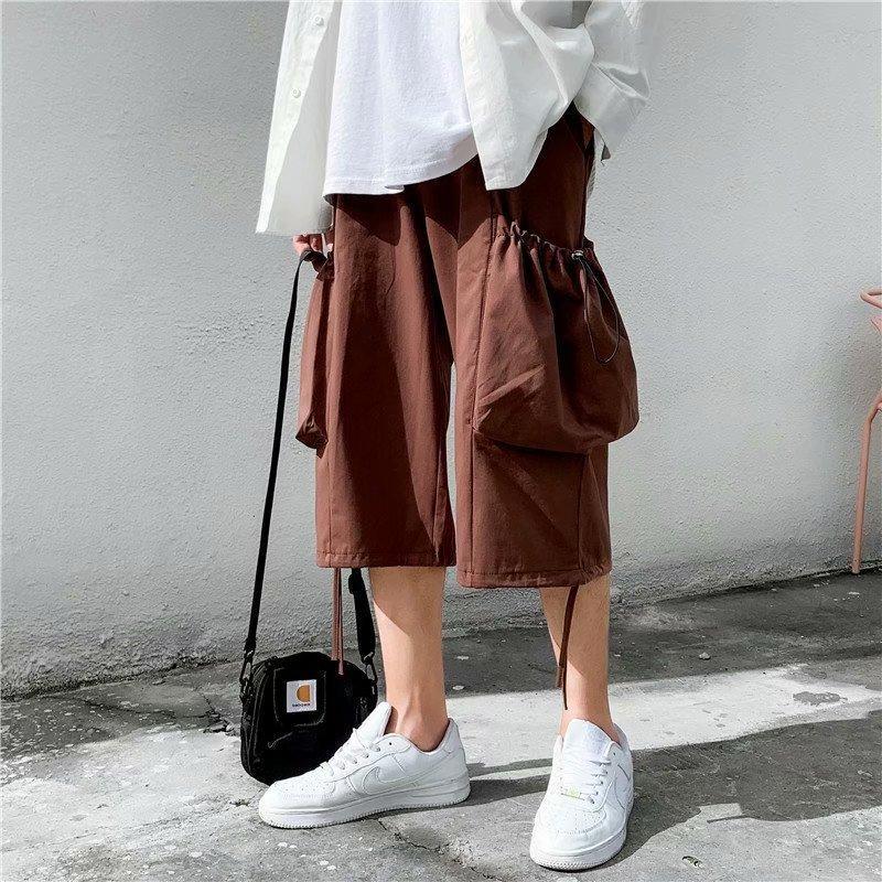 Pantalones cortos de estilo chino de bragas de verano Pantalones cortos de estilo chino de ancho Capri Pantalones de playa Moda