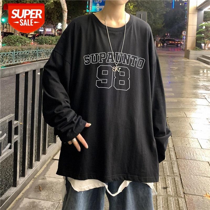 Hongkong-Stil Rundhals-Druck-Persönlichkeit langärmeliges T-Shirt für Jungen koreanische Version der Trendliebhaber, die das Botting-Botting com # NQ7Y Hedging