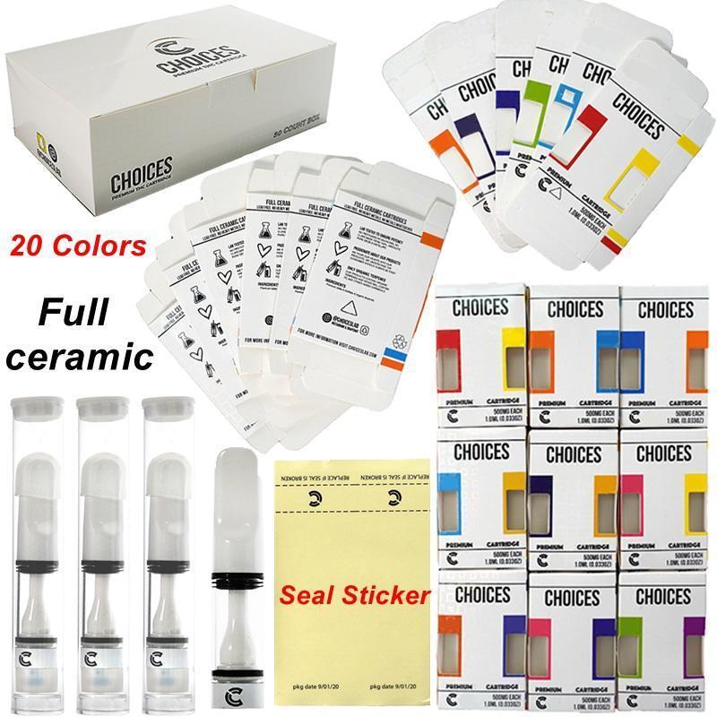 선택 Vape 카트리지 전체 세라믹 카트 510 나사 20 색상 Vape 0.5ml 씰 스티커에 프레스 빈 오일 카트 홀로그램 포장 카트리지