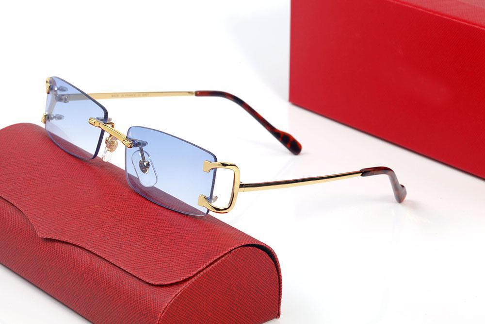 2021 مصمم نظارات نظارات بدون شفة نظارات الرجال والنساء الأزياء المعادن مستطيلة الإطار adumbral اكسسوارات النظارات الفاخرة الأحمر الأزرق مع المربع الأصلي