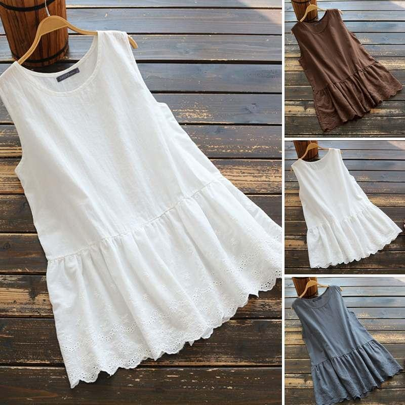 Women's Blouses & Shirts Kaftan Summer Blouse Sleeveless 2021 ZANZEA Casual Lace Patchwork Blusas Female Solid Tops Plus Size Tunic 5XL