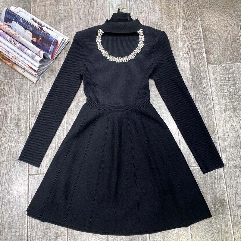 Capris de malha 2021 outono inverno camisola de moda de alta qualidade mulheres cristal beading deco luva longa azul preto