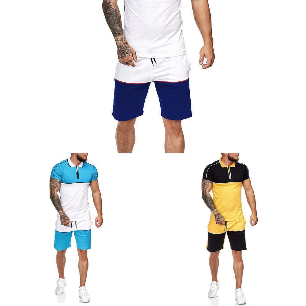 2021 Sommer Sportart Mode Lässige Sets Herren Shorts + T-Shirt Zwei Stück Trainingsanzug Tops Sportswear Fitness Kleidung Männlich Set 3xl x0601