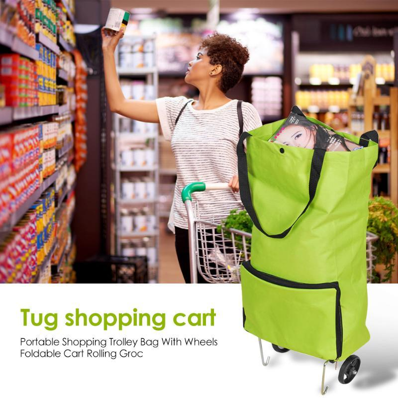 Storage Bags Oxford Folding Shopping Pull Cart Trolley Bag With Wheels Portable Travel Foldable Tug Vegetables