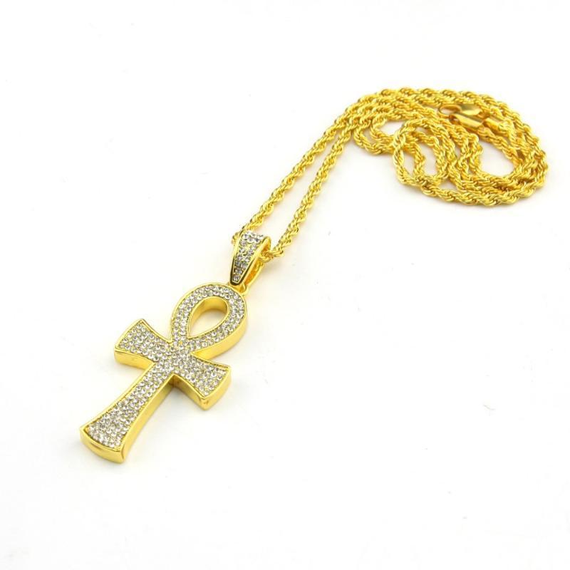 Collares colgantes Egipcio Ankh Key Amarillo CZ CZ CZ IMITADO CRUZ CRISTA CON CRISTA DE CADENA DE SINGAPUR TORKED