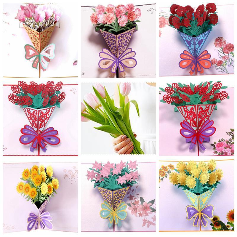 Cartes de voeux Day Mères Postcard 3D Pop Up Fleur Merci Maman Joyeux anniversaire Invitation Personnalisé Cadeaux Papier de mariage 1948 V2