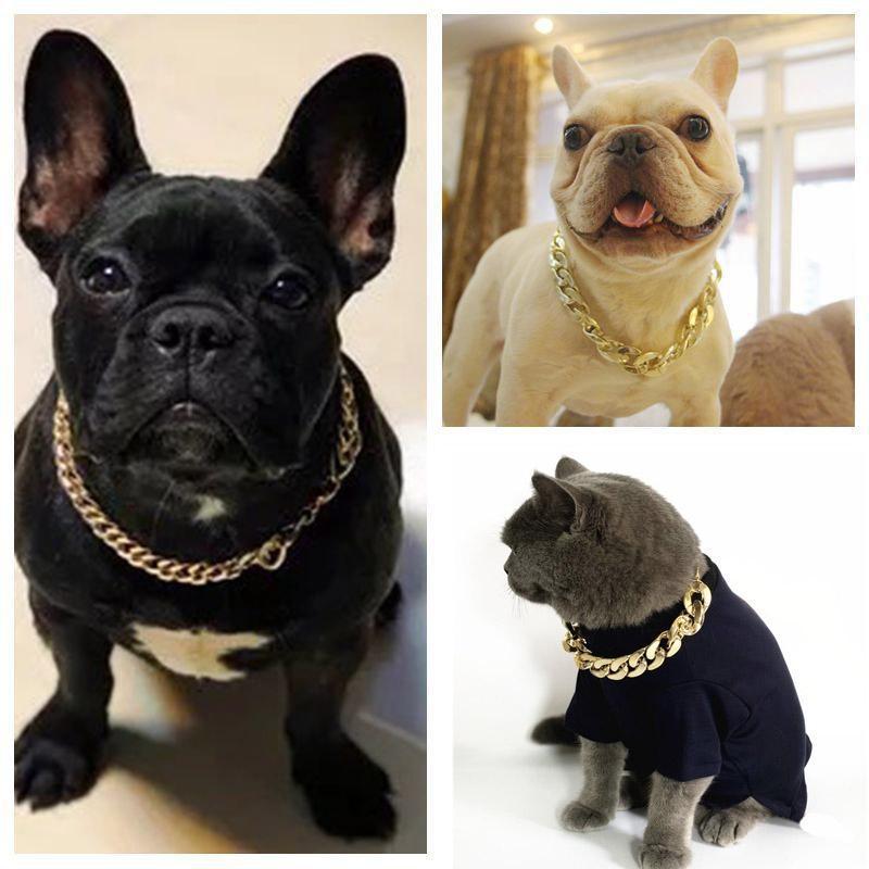 Colares Coleiras de Cão Coleira de Pet Grosso 36cm / 45cm Corrente de Ouro Plástico Banhado Identificado Cachorrinho Cães de Cães Suprimentos