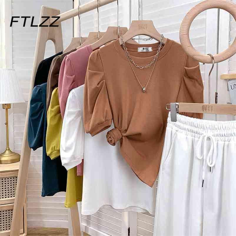 Frauen Vintage T Shirts Sommer Puff Sleeve Casual Koreaner Tee Weibliche Tops Frau Streetwear 210602