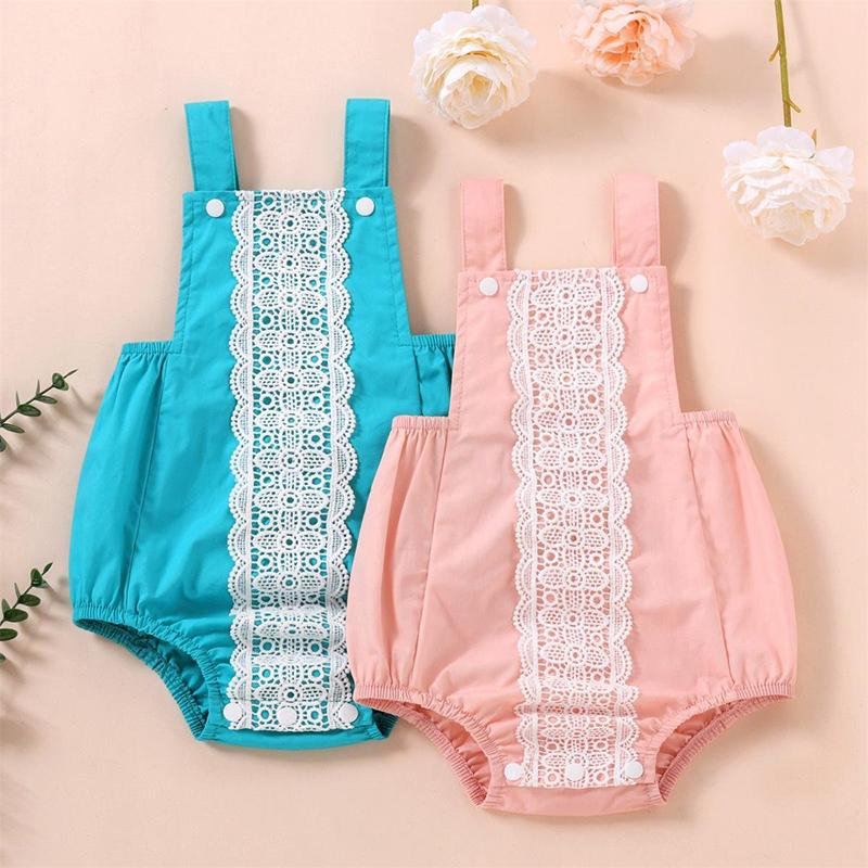 kids clothe girls Solid colors lace romper infant toddler Sling Jumpsuits summer fashion Boutique baby Climbing clothes