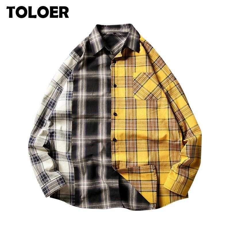캐주얼 격자 무늬 셔츠 남자 봄 가을 긴 소매 고품질 2021 일본 스타일 느슨한 스트리트웨어 유니섹스 포켓 블라우스 스웨터 남성 셔츠