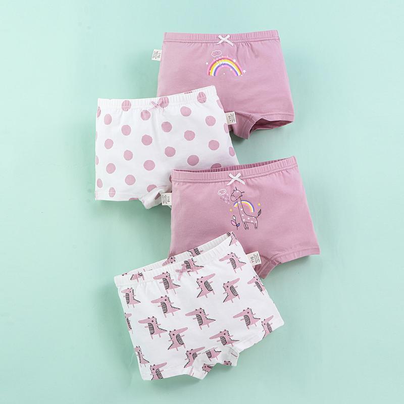 Bragas Peinado para niños Lycra algodón delgado ropa interior Chicas Four Seasons Soft Elastic Elelseless Dibujos animados Pantalones Pack Pack
